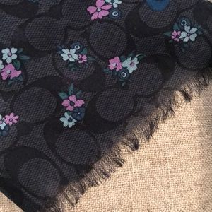 Coach navy flowered scarf 80x24